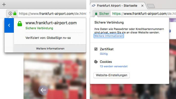 Sichere Verbindung: In Firefox (links) und Google Chrome (rechts)