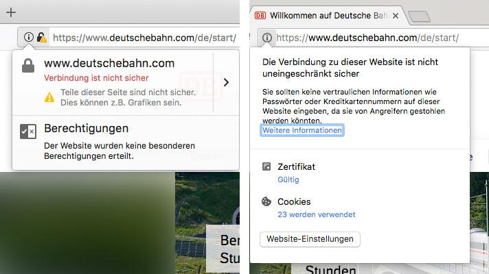 Fehlerhafte Umsetzung der SSL-Verbindung: Anzeige in Firefox (links) und Chrome (rechts)