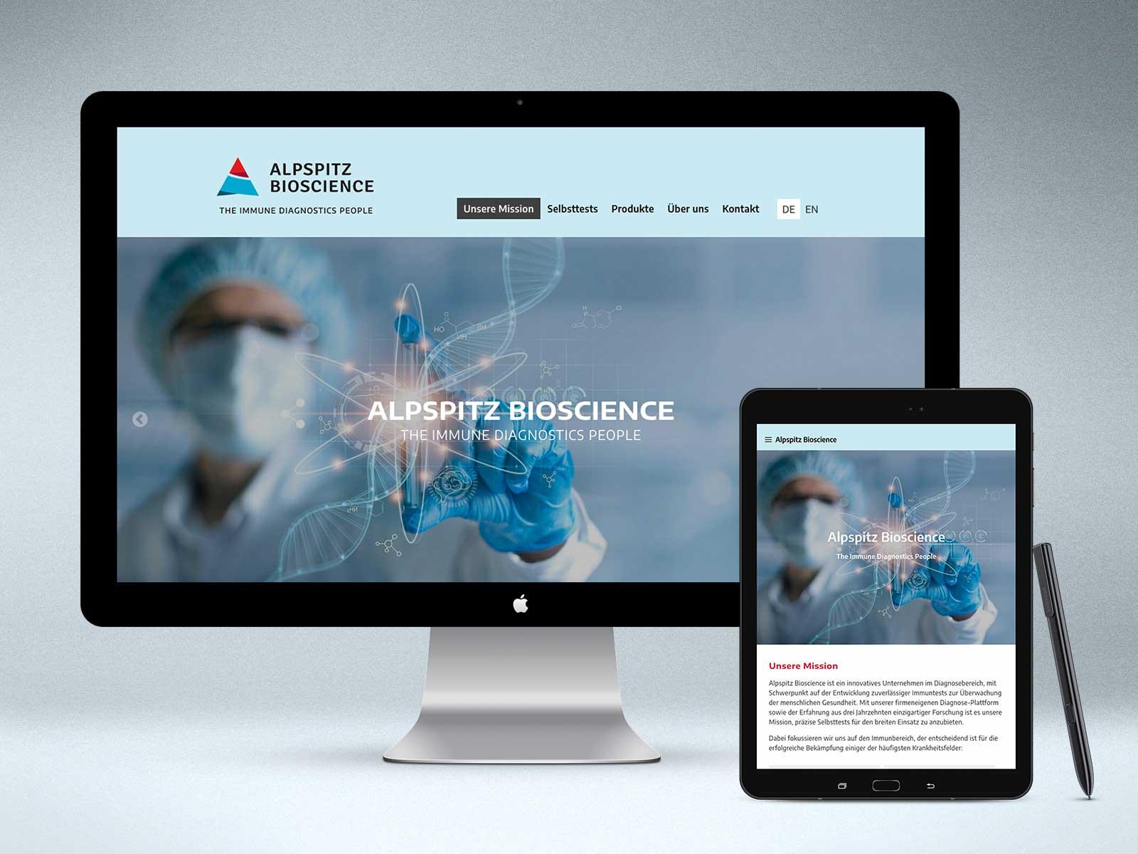 Webdesign www.alpspitz-bioscience.com