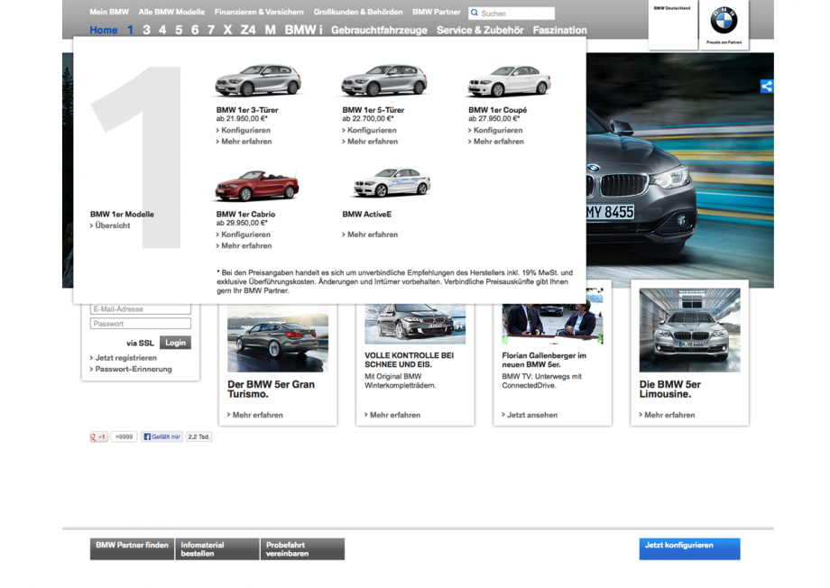 Webdesign Navigation BMW
