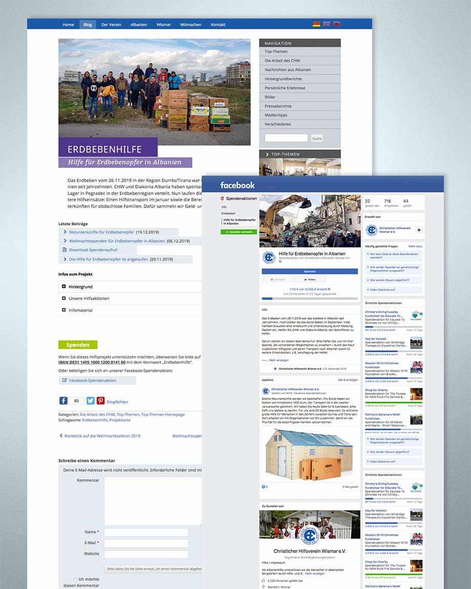 Online-Spendenaktion, erstellt von Studio2
