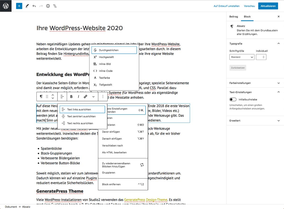 Absatz-Block im WordPress Gutenberg-Editor
