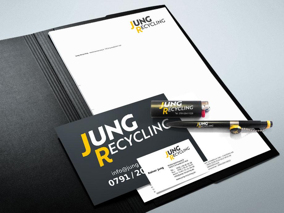 Jung Recycling, Logo und Geschäftspapiere