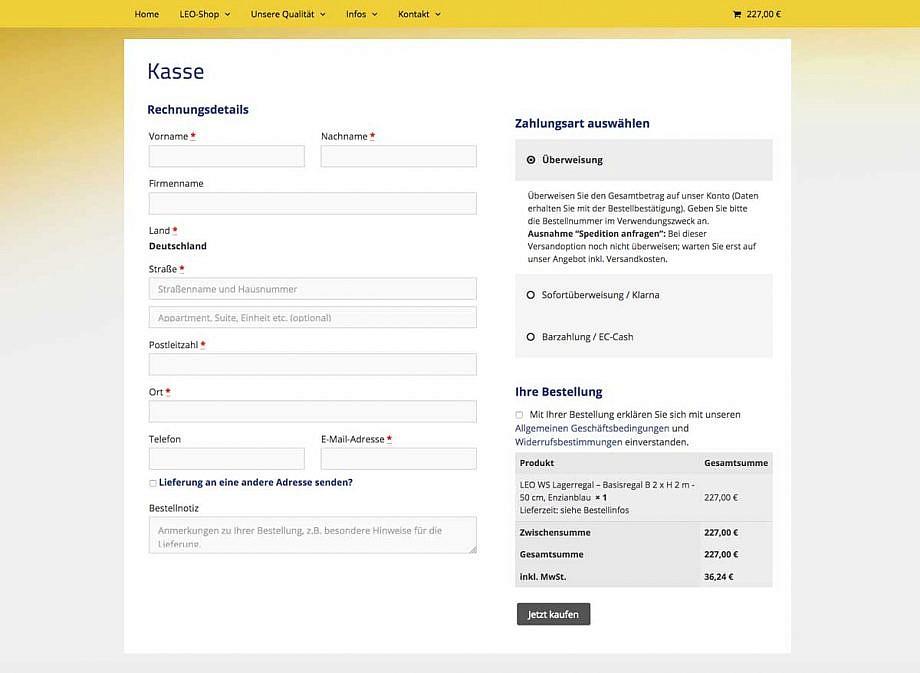 Onlineshop Kasse