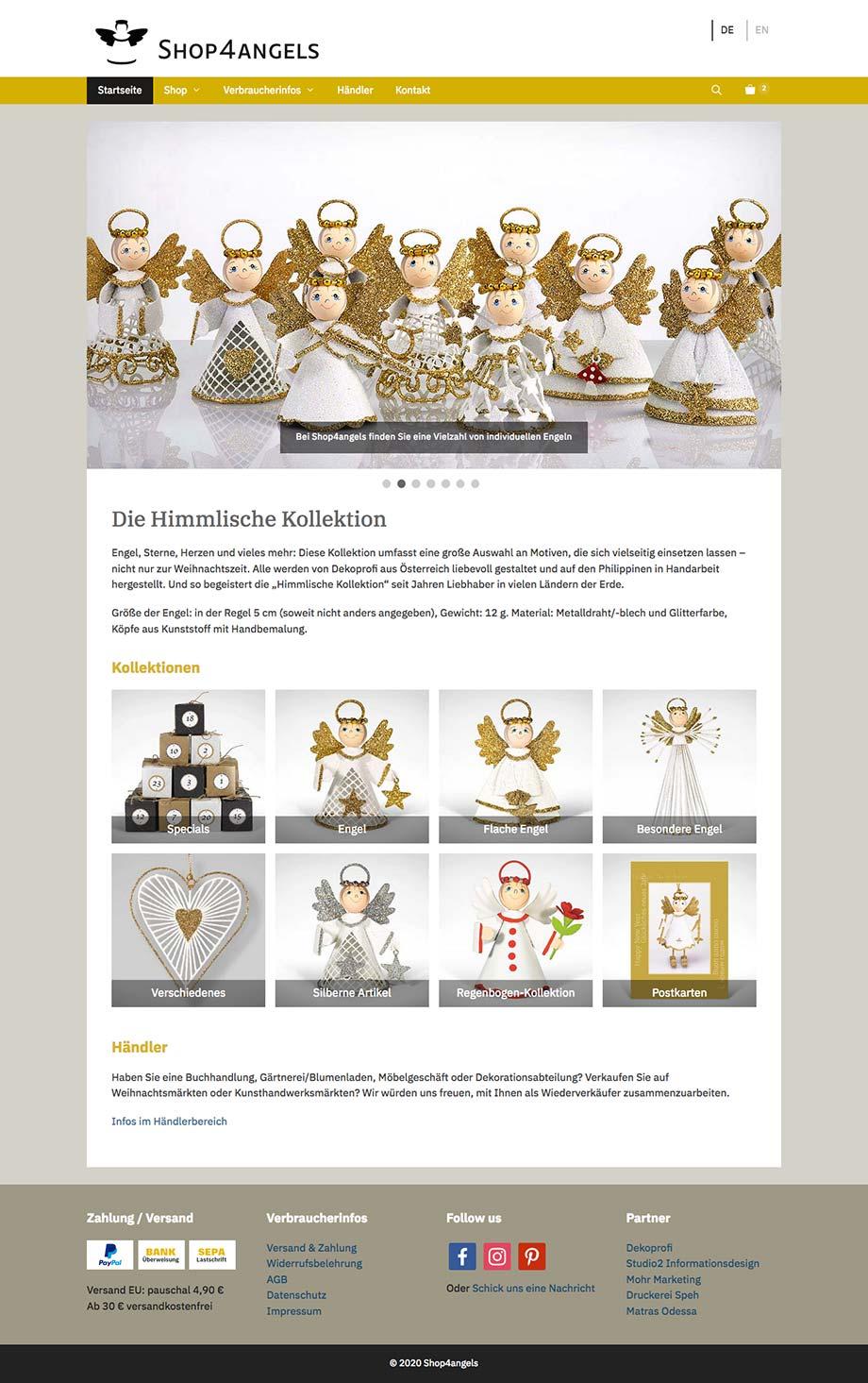 Webdesign Onlineshop www.shop4angels.com