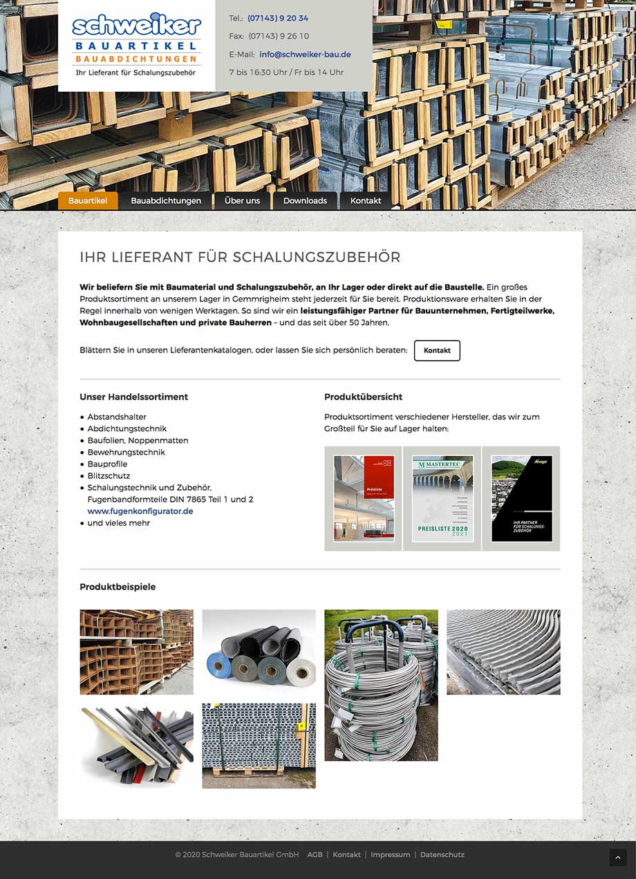 Webdesign Website www.schweiker-bau.de