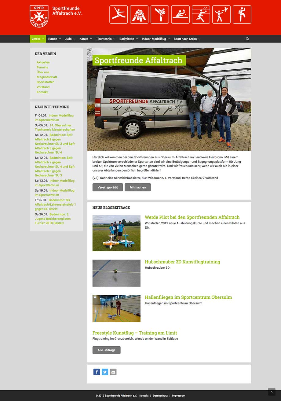Webdesign Website www.sportfreunde-affaltrach.de