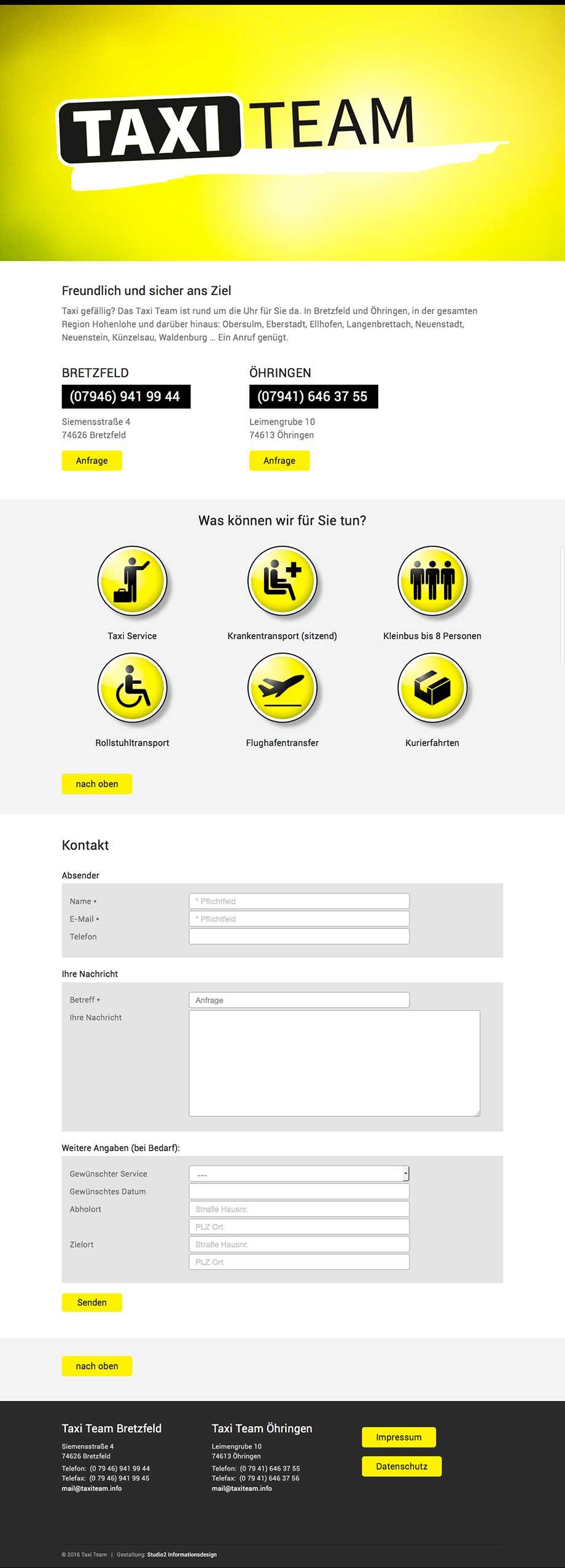 Webdesign von Studio2 für Taxi Team