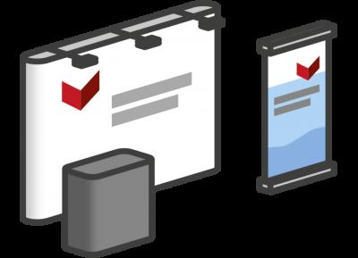 Präsentation Gestaltung Rollups Infotafeln